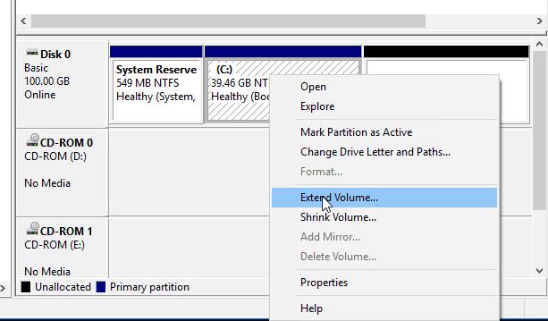 extending the volume for windows in kvm