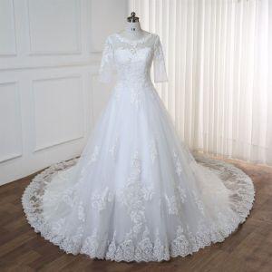 Vestido de novia largo desde