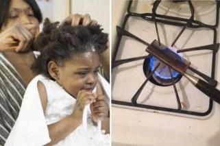 black girl gettinghair done