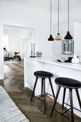 Complete the modern minimalistic look with accent symmetrical hanging lights.