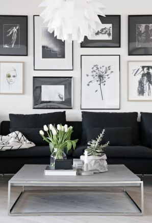 Keep artwork black and white to match the rest of your decor.