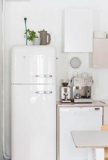 A monochromatic kitchen design.