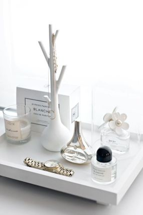 Use a tray to display your favorite desk items.