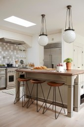 A traditional kitchen mixed with modern, urban furniture.
