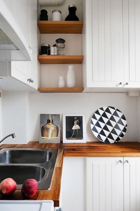 Update your kitchen by revising the counter tops with refined maple wood.