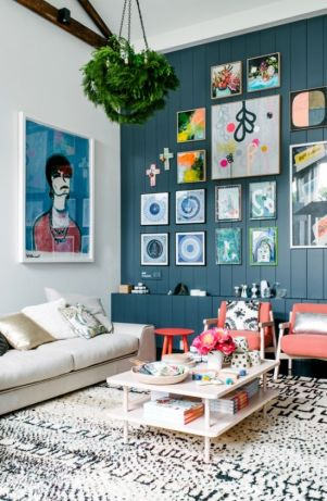 A colorful gallery wall.