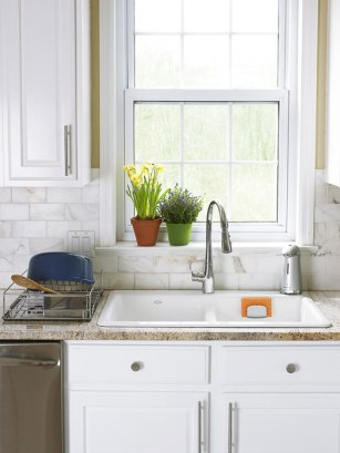 Traditional kitchen with all purpose planters.