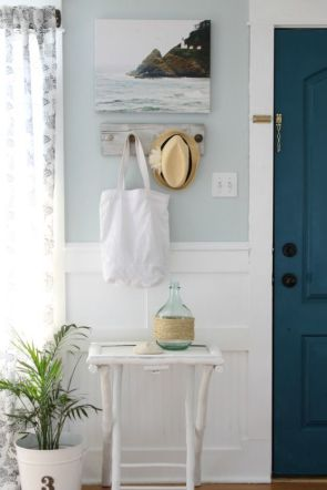 Summertime vacation theme with bright light blue wall.