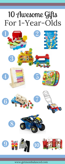 Check out these 10 awesome gifts for one year olds. My second son loves these gifts he received for his first birthday.