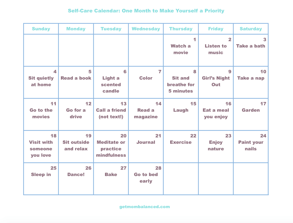Self Made Calendar 2018 : Self care calendar for busy moms and women get mom balanced