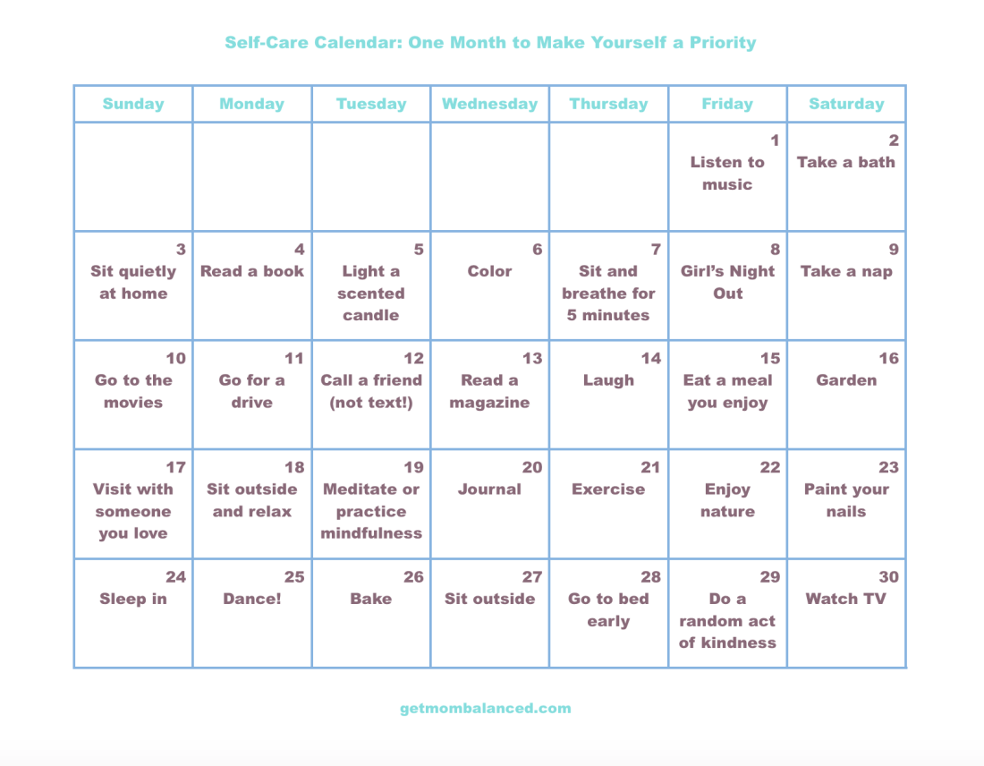 Self-care calendar for busy moms | Free printable calendar with self care activities.