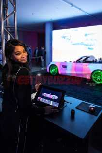 Chanel Iman shows off her custom design for the Mercedes-AMG GT C Roadster using a 3D Projection Mapping System at the Rolling Stone Live Houston party leading up to The Big Game on Saturday, February 4, 2017 in Houston, TX. (Photo courtesy of MBUSA)