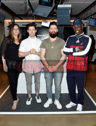 NEW YORK, NY - JUNE 14: Players' Tribune founder Jaymee Messler, APL Founders Ryan Goldston and Adam Goldston with Lil Yachty attend the Samsung Galaxy Book Launch at Samsung 837 on June 14, 2017 in New York City. (Photo by Jamie McCarthy/Getty Images for Samsung)