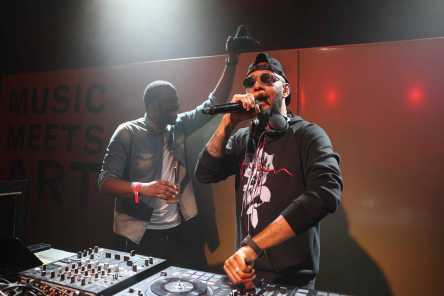 BERLIN, GERMANY - JUNE 29: Black Coffee and Swizz Beatz perform at Bacardi X The Dean Collection Present: No Commission Berlin on June 29, 2017 in Berlin, Germany. (Photo by Brian Dowling/Getty Images for Bacardi) *** Local Caption *** Black Coffee;Swizz Beatz