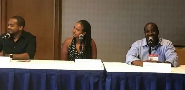 from left to right: Detavio Samuels, president of iOne Digital and One Solution; Whitney Mari Headen, head of Life Currency and former head of digital marketing, Essence and Jay Jackson of Ryse Media.