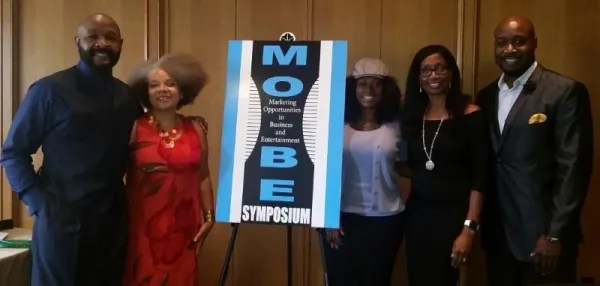 """TV Panelists """"In Front Of And Behind The Camera"""" moderated by Chelsye Burrows - from left to right: Rushion McDonald (producer and writer), Yvette Moyo (MOBE), featuring TV executive Sharon Thomas Tomlinson, Chelsye Burrows (PR Expert) and actor Henry Frost III"""