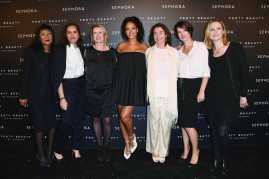 PARIS, FRANCE - SEPTEMBER 21: (C) Rihanna poses with the Sephora managment team durring the Fenty Beauty By Rihanna Paris Launch Party hosted by Sephora at Jardin des Tuileries on September 21, 2017 in Paris, France. (Photo by Pascal Le Segretain/Getty Images for Fenty Beauty) *** Local Caption *** Rihanna