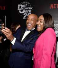 Russell Simmons and Tiffany Haddish arrive at Def Comedy Jam 25, A Netflix Original Comedy Event, in Beverly Hills on Sunday September 10th.