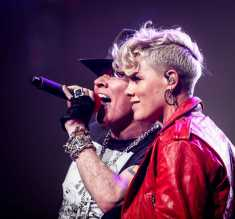 Axl and P!NK kick off new Guns N' Roses arena tour dates at Madison Square Garden in New York City on October 11, 2017.