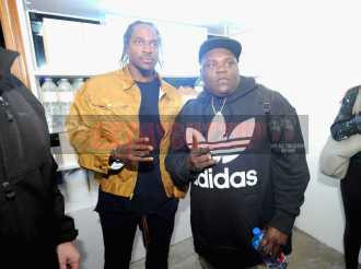 """NEW YORK, NY - OCTOBER 26: Pusha T (L) attends the Launch Of Pusha T's Latest Collaboration With adidas Originals, KING PUSH X ADIDAS ORIGINALS EQT """"BODEGA BABIES"""" on October 26, 2017 in New York City. (Photo by Brad Barket/Getty Images for adidas) *** Local Caption *** Pusha T"""
