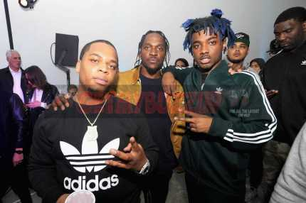 """NEW YORK, NY - OCTOBER 26: Don Q, Pusha T and Lougotcash attend the Launch Of Pusha T's Latest Collaboration With adidas Originals, KING PUSH X ADIDAS ORIGINALS EQT """"BODEGA BABIES"""" on October 26, 2017 in New York City. (Photo by Brad Barket/Getty Images for adidas) *** Local Caption *** Don Q; Pusha T; Lougotcash"""