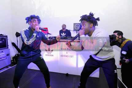 """NEW YORK, NY - OCTOBER 26: Lougotcash (L) performs at the Launch Of Pusha T's Latest Collaboration With adidas Originals, KING PUSH X ADIDAS ORIGINALS EQT """"BODEGA BABIES"""" on October 26, 2017 in New York City. (Photo by Brad Barket/Getty Images for adidas) *** Local Caption *** Lougotcash"""