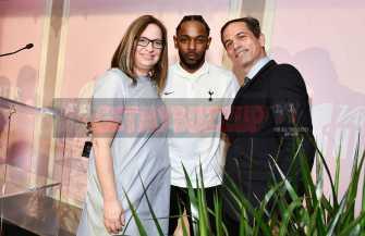 Mandatory Credit: Photo by Rob Latour/Variety/REX/Shutterstock (9228565av) Shirley Halperin, Kendrick Lamar and Jem Aswad Variety Hitmakers Brunch, Inside, Los Angeles, USA - 18 Nov 2017