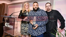 Mandatory Credit: Photo by Rob Latour/Variety/REX/Shutterstock (9228565bf) Alissa Pollack, DJ Khaled and Woody Variety Hitmakers Brunch, Inside, Los Angeles, USA - 18 Nov 2017