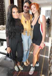 MIAMI BEACH, FL - DECEMBER 08: (L-R) Angela Simmons, Jeffrey Williams and Lion Babe attend The House Of Remy Martin Presents The MVP Experience In Miami at W South Beach on December 8, 2017 in Miami Beach, Florida. (Photo by Johnny Nunez/Getty Images for Remy Martin)