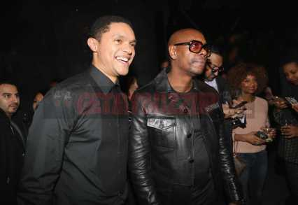NEW YORK, NY - JANUARY 28: Trevor Noah (L) and Dave Chappelle attend Universal Music Group's 2018 After Party to celebrate the Grammy Awards supported by The House Of Remy Martin at Spring Studios on January 28, 2018 in New York City. (Photo by Johnny Nunez/Getty Images for Remy Martin)