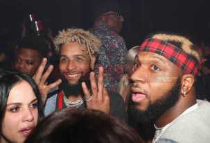 LOS ANGELES, CA - FEBRUARY 18: Odell Beckham Jr. (L) attends the LIV On Sunday For MVP Weekend event At Avenue Los Angeles Hosted By French Montana and presented By Remy Martin on February 18, 2018 in Los Angeles, California. (Photo by Johnny Nunez/Getty Images for Remy Martin)