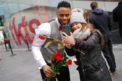 A Valentine's Day selfie with former pro-football player Rashad Jennings, celebrating Valentine's Day in Times Square with 1-800-Flowers.com