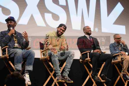 """AUSTIN, TX - MARCH 17: Director Sacha Jenkins, Dave East, director Marcus A. Clarke and T.I. attend a Q&A following the premiere of """"Rapture"""" during SXSW 2018 on March 17, 2018 in Austin, Texas. (Photo by Daniel Boczarski/Getty Images for Netflix) *** Local Caption *** Sacha Jenkins;Dave East;Marcus A. Clarke;T.I."""