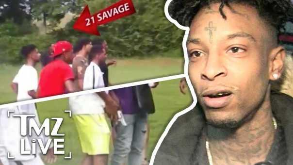 21 Savage Pulls A Gun At Pool Party | TMZ Live