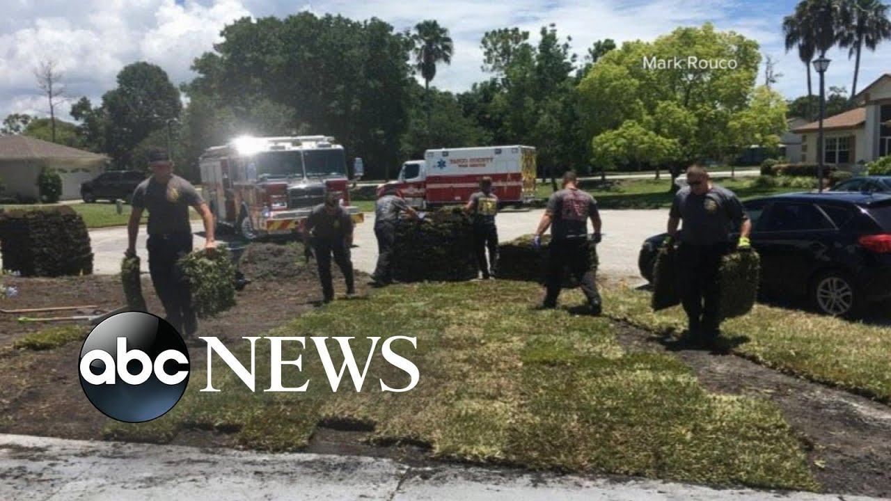Florida firefighters saved a husband having a heart attack, then completes his yard work