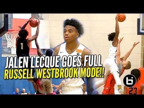 """DON'T JUMP w/ Jalen Lecque! Shows WHY He's """"Baby Westbrook"""" at Nike Peach Jam!!"""