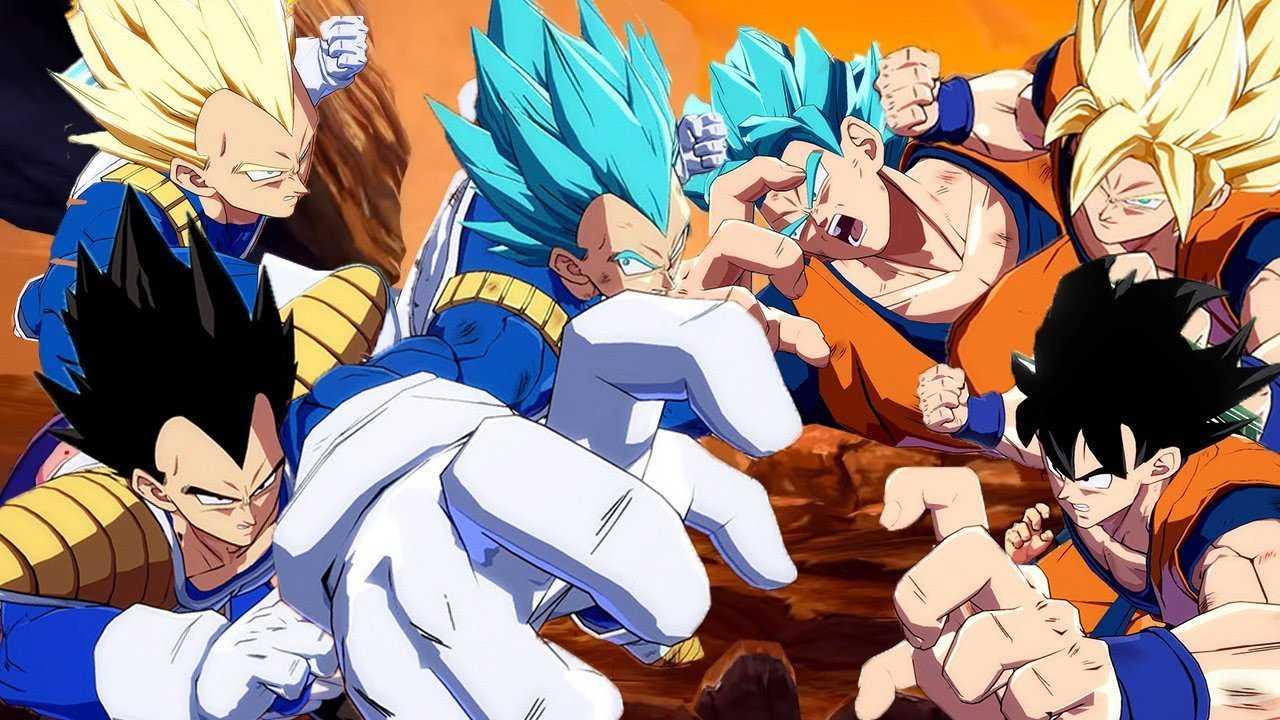 Dragon Ball FighterZ - All Goku Team vs All Vegeta Team Gameplay