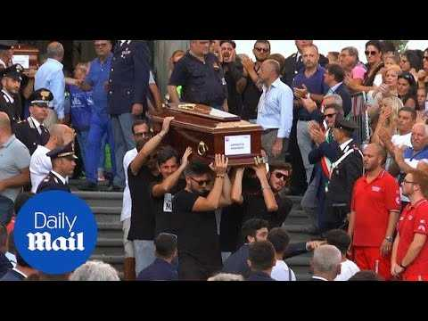 Emotional funeral for four friends who died in Genoa bridge collapse - Daily Mail