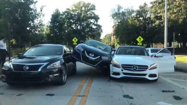 3 Car pile up… On Georgia Tech Campus  in Atlanta