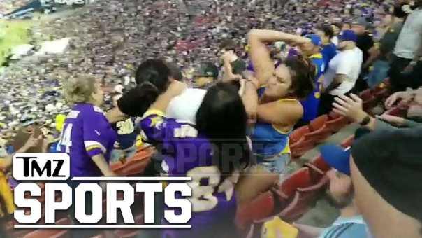 Rams vs. Vikings Fan Brawl, Man Flung Over Bleachers! | TMZ Sports