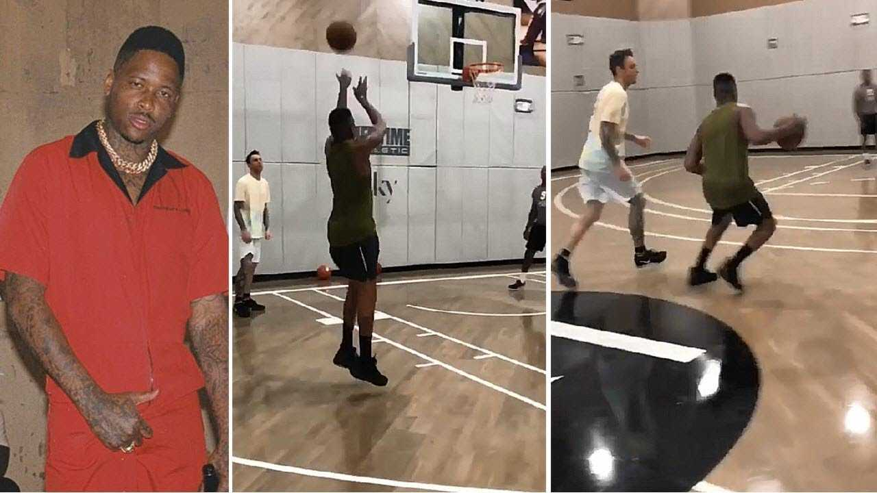 YG Shows Off Jumper & Hoop Skills On The Court