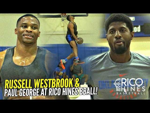 Russell Westbrook & Paul George TEAM UP at Rico Hines Run at UCLA!! Russ CRAZY Dunks!