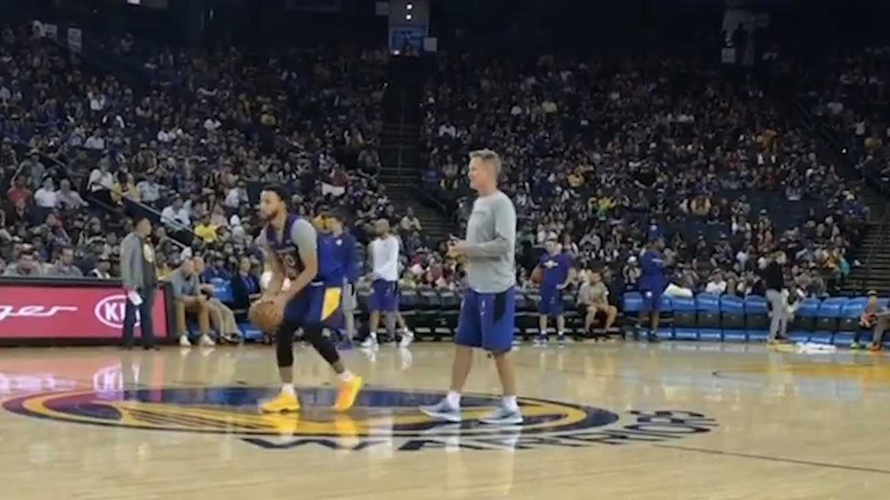 Steph Curry Shoots INSANE Behind The Back TRICK SHOT!