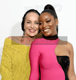 Sharon Stone attends the screening of PIMP. Pictured with lead, Keke Palmer,