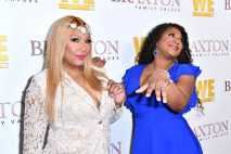 "WEST HOLLYWOOD, CALIFORNIA - APRIL 02: (L-R) Trina Braxton and Traci Braxton are seen as We TV celebrates the premiere of ""Braxton Family Values"" at Doheny Room on April 02, 2019 in West Hollywood, California. (Photo by Earl Gibson III/Getty Images for WE tv )"