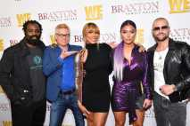 "WEST HOLLYWOOD, CALIFORNIA - APRIL 02: (L-R) Ricky Williams, Kato Kaelin, Tamar Braxton, Natalie Eva Marie, and Joey Lawrence are seen as We TV celebrates the premiere of ""Braxton Family Values"" at Doheny Room on April 02, 2019 in West Hollywood, California. (Photo by Earl Gibson III/Getty Images for WE tv )"