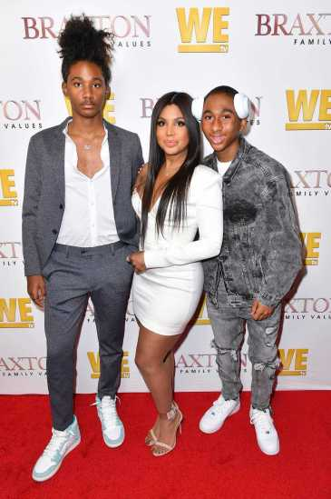 """WEST HOLLYWOOD, CALIFORNIA - APRIL 02: (L-R) Diezel Ky Braxton-Lewis, Toni Braxton, and Denim Cole Braxton-Lewis are seen as We TV celebrates the premiere of """"Braxton Family Values"""" at Doheny Room on April 02, 2019 in West Hollywood, California. (Photo by Earl Gibson III/Getty Images for WE tv )"""