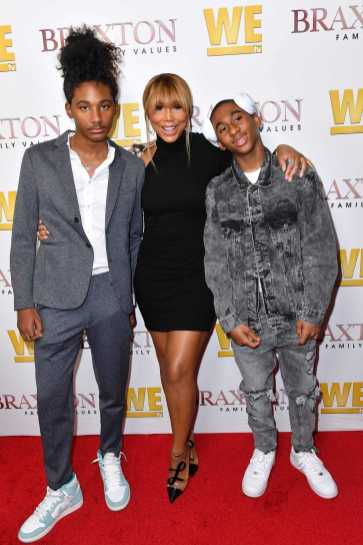 "WEST HOLLYWOOD, CALIFORNIA - APRIL 02: (L-R) Diezel Ky Braxton-Lewis, Tamar Braxton, and Denim Cole Braxton-Lewis are seen as We TV celebrates the premiere of ""Braxton Family Values"" at Doheny Room on April 02, 2019 in West Hollywood, California. (Photo by Earl Gibson III/Getty Images for WE tv )"