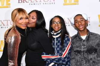 """WEST HOLLYWOOD, CALIFORNIA - APRIL 02: (L-R) Tamar Braxton, Towanda Braxton, Brooke Carter, and Denim Cole Braxton-Lewis are seen as We TV celebrates the premiere of """"Braxton Family Values"""" at Doheny Room on April 02, 2019 in West Hollywood, California. (Photo by Earl Gibson III/Getty Images for WE tv )"""