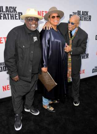 """LOS ANGELES, CALIFORNIA - JUNE 03: (L-R) Cedric the Entertainer, Queen Latifah and Quincy Jones attend Netflix world premiere of """"THE BLACK GODFATHER at the Paramount Theater on June 03, 2019 in Los Angeles, California. (Photo by Charley Gallay/Getty Images for Netflix)"""